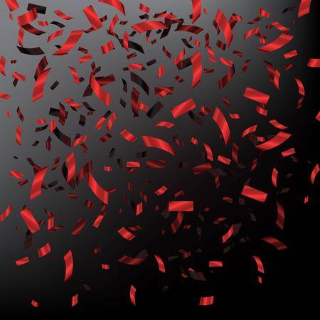 Red falling confetti on dark background. Vector holiday illustration Illustration