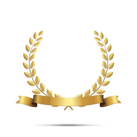 Corona dorata dell'alloro con il nastro isolato su priorità bassa bianca. Elemento di design vettoriale.