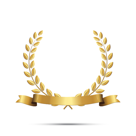 Golden laurel wreath with ribbon isolated on white background. Vector design element. Vettoriali