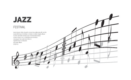 Jazz festival poster or banner template. Vector Jazz festival text on stave background.