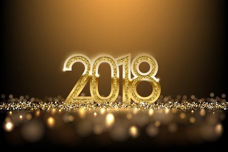 Gouden het Nieuwjaarteken van 2018 op gouden vakantieachtergrond. Vector Nieuwjaarsillustratie.
