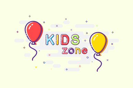 Kids zone sign in mbe design style. Vector balloons with Kids Zone words on sparkling background.
