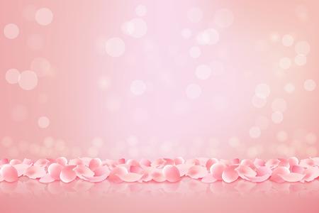 Beautiful pink background with blooming Sakura pink petals. Vector illustration. Vettoriali