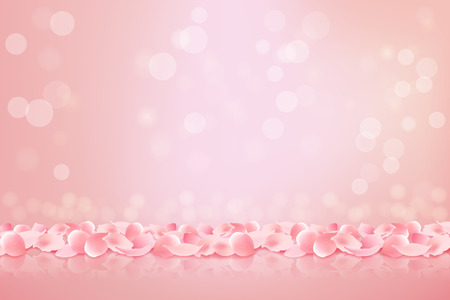 Beautiful pink background with blooming Sakura pink petals. Vector illustration. Vectores