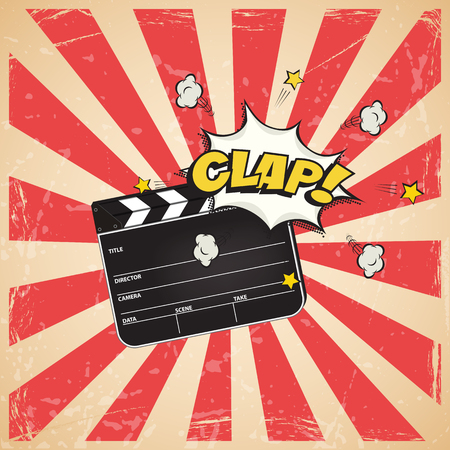 Clapperboard with Clap word on vintage striped pop art background. Vector retro cinema illustration.