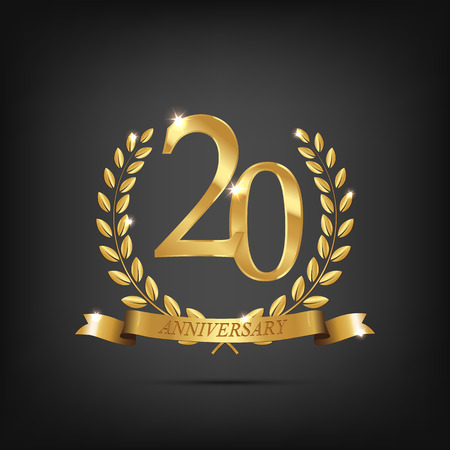 20 anniversary golden symbol. Golden laurel wreaths with ribbons and twentieth anniversary year symbol on dark background. Vector anniversary design element.