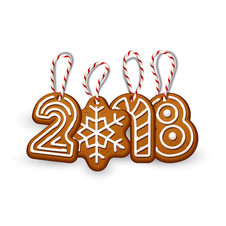 2018 New Year sign made of ginger cookies with vintage stringsisolated on white. Vector 2018 New Year design template. Illustration