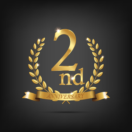 2 anniversary golden symbol. Golden laurel wreaths with ribbons and second anniversary year symbol on dark background. Vector anniversary design element