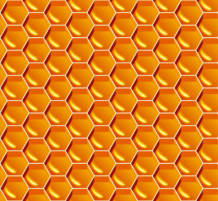 Honey seamless pattern. Vector yellow honeycomb background