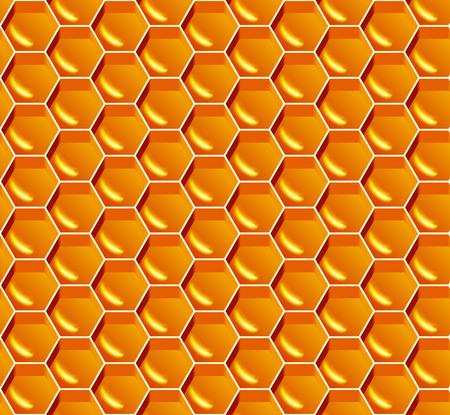 Honing naadloos patroon. Vector gele honingraatachtergrond