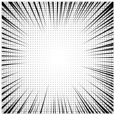 Manga or anime monochrome effect with halftone and stripes. Vector comic book background Illustration
