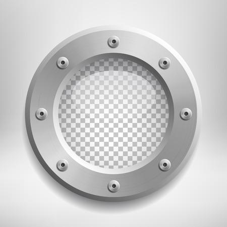 Metallöffnung mit transparentem Glas. Platzieren Sie Ihr Design auf einer separaten Ebene unter dem Fenster. Vektor-illustration Standard-Bild - 93657360