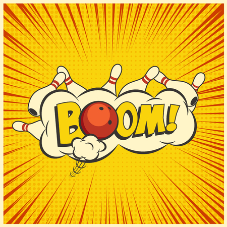 Bowling strike. Vector yellow pop art bowling illustration on a vintage background.