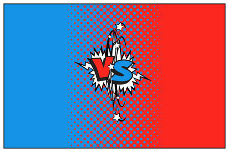 Blue and red versus logo with halftone effect. Vector VS icon
