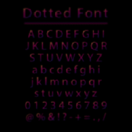 Vector dotted font. Color letters and numbers made of dots with halftone effect isolated on black background. Illustration