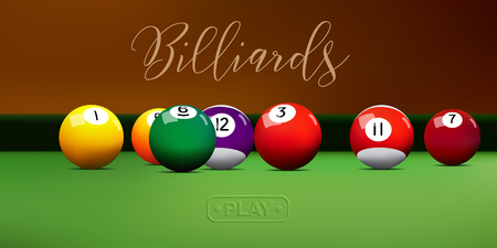 Billiard balls on green table. Vector billiard illustration.