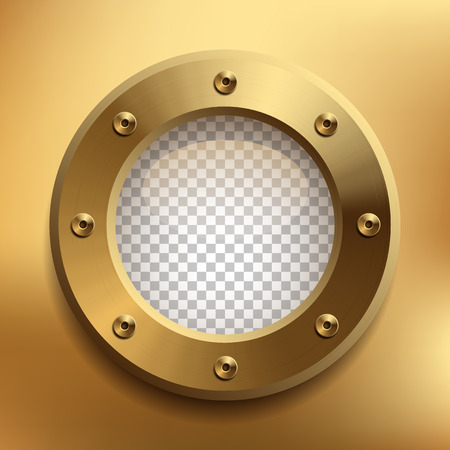 Brass porthole with transparent glass. Place your design on separate layer under the window. Vector illustration. Stock Illustratie