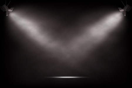 Vector realistic vintage spotlights. Theater or show stage background.