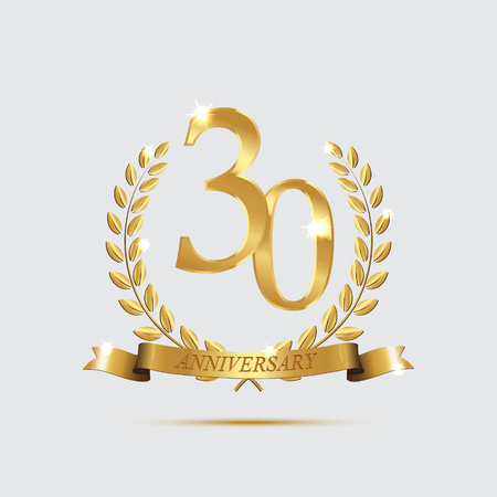 Golden laurel wreaths with ribbons and thirty anniversary year symbol on light background. 30 anniversary golden symbol. Vector anniversary design element.