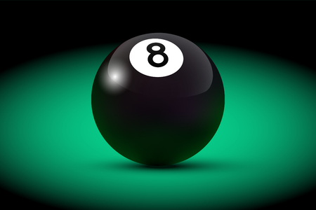 Black realistic billiard eight ball on green table. Vector billiard illustration.