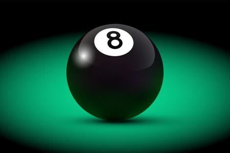 Black realistic billiard eight ball on green table. Vector billiard illustration.