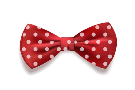 Red bow tie polka dots isolated on white background. Vector illustration. Vettoriali