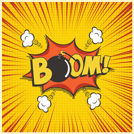 Boom comic text speech bubble with bomb. Vector isolated sound effect puff cloud iconon yellow background. 矢量图像