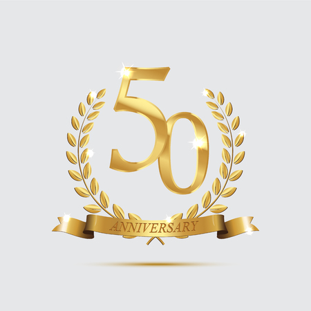 Golden laurel wreaths with ribbons and fifty anniversary year symbol on dark background. 50 anniversary golden symbol.