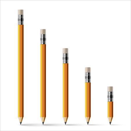 Different size pencils with erasers isolated on white.