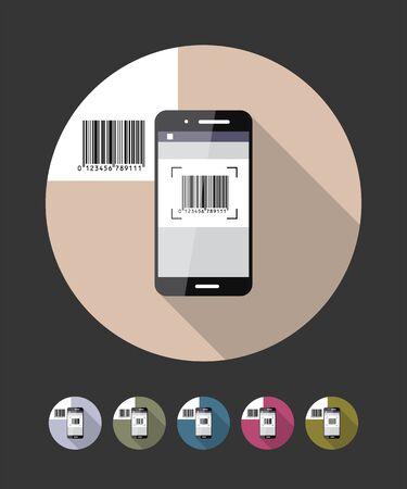 Barcode scanning phone. Vector flat style illustration.