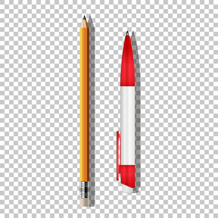 Vector realistic ballpoint pen and pencil isolated on transparent background. Illustration