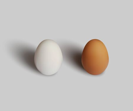 White and brown eggs isolated on gray background. Vector realistic design element.
