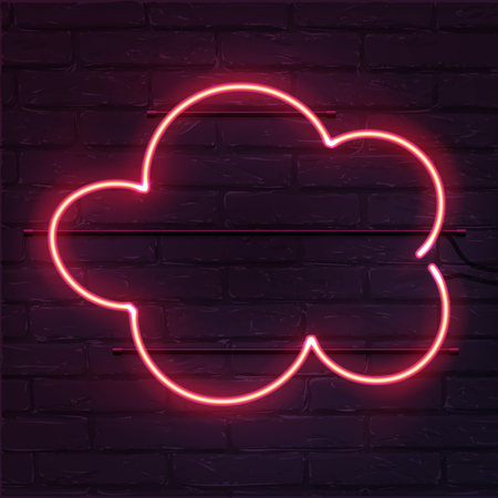 Vector realistic neon cloud on brick wall. Pink cloud neon sign.