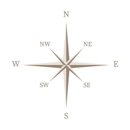 Vintage brown wind rose isolated on white background. Vector illustration.