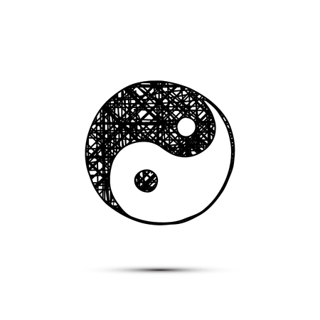 Vector handdrawn yin-yang symbol isolated on white. Illustration