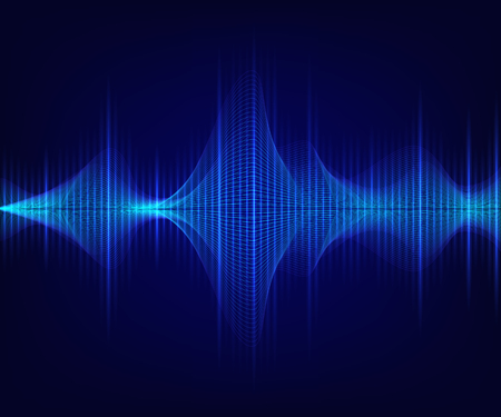 Blue shiny sound wave on dark background. Vector technology illustration.