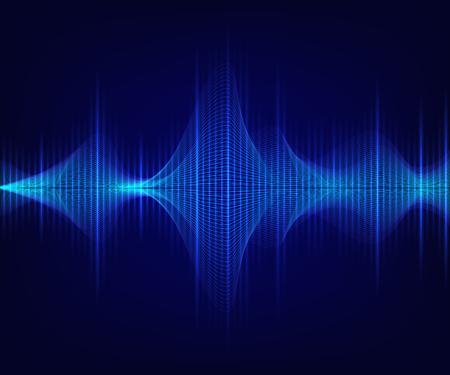 Blue shiny sound wave on dark background. Vector technology illustration.