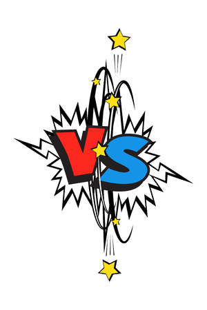 Comic book blue and red versus . Vector VS icon. Stock Photo