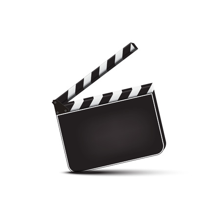 Vector realistic opened blank clapperboard isolated on white background. Vettoriali