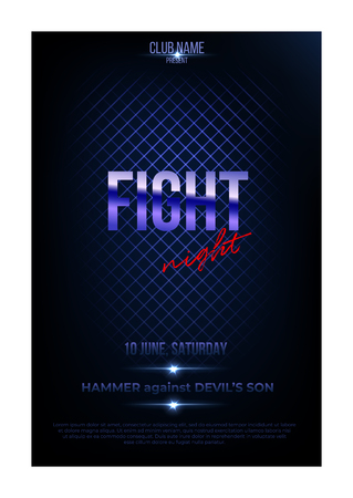 Fight night poster template. Vector golden words on dark blue background. Illustration