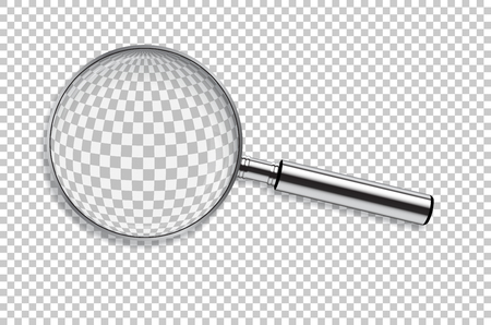 Vector realistic metal magnifier isolated on transparent background.