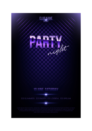 Night party flyer template. Violet metal words and spotligts on dark background.
