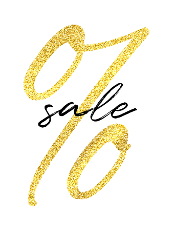 Vector golden percent sign and black Sale word on white background. Sale flyer template.