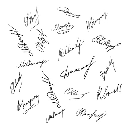 Vector signature set. Handwritten signature collection.
