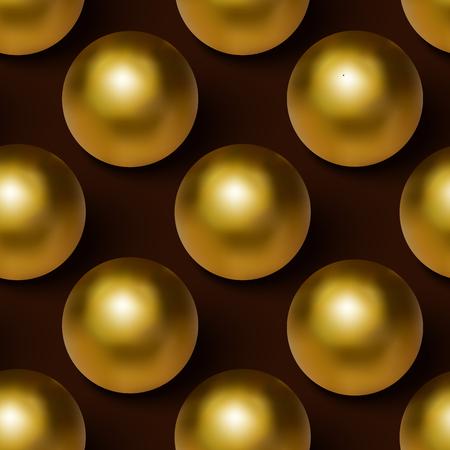 Vector realistic golden ball seamless background. Golden ball seamless pattern.
