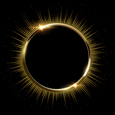 Golden sparkling ring with rays and glitter isolated on black background. Vector golden frame. 일러스트