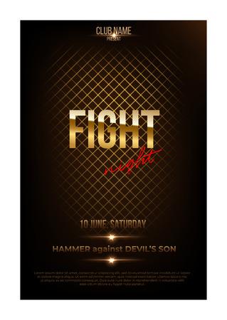 Fight night poster template. Vector golden words on dark background. 向量圖像