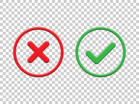 Czerwone i zielone znaczniki wyboru na przezroczystym tle. Wektor ikony znacznika wyboru. Ilustracje wektorowe