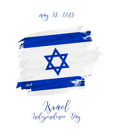 May 14, Israel Independence day background with grunge flag vector design for card, banner, poster or flyer. Vettoriali