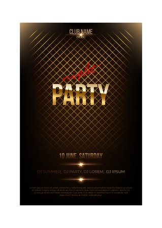 Night party flyer template. Golden words and spotlights on dark background.
